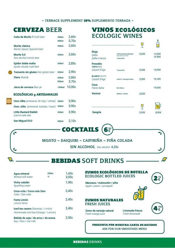 Carta Gótico Bebidas